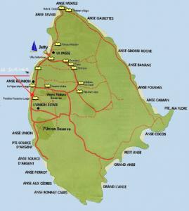 La Digue Map, wo liegt seychellen